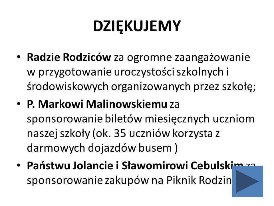 DZIĘKUJEMY Radzie Rodziców za ogromne zaangażowanie w przygotowanie uroczystości szkolnych i środowiskowych organizowanych przez szkołę; P. Markowi Ma