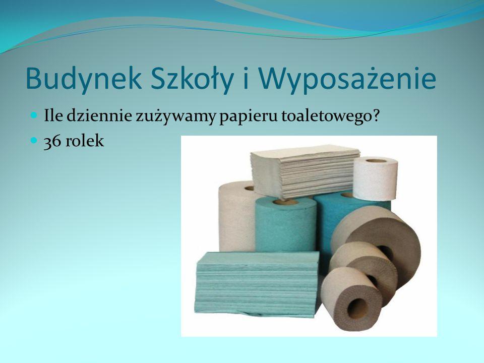 Budynek Szkoły i Wyposażenie Ile dziennie zużywamy papieru toaletowego? 36 rolek
