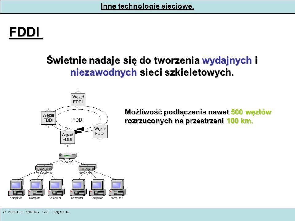 © Marcin Żmuda, CKU Legnica Inne technologie sieciowe. FDDI Świetnie nadaje się do tworzenia wydajnych i niezawodnych sieci szkieletowych. Możliwość p