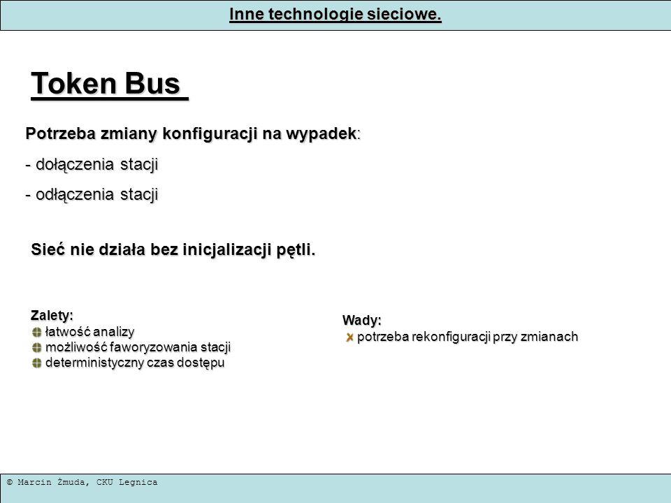 © Marcin Żmuda, CKU Legnica Inne technologie sieciowe. Token Bus Potrzeba zmiany konfiguracji na wypadek: - dołączenia stacji - odłączenia stacji Sieć