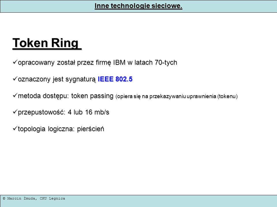 © Marcin Żmuda, CKU Legnica Inne technologie sieciowe. Token Ring opracowany został przez firmę IBM w latach 70-tych opracowany został przez firmę IBM
