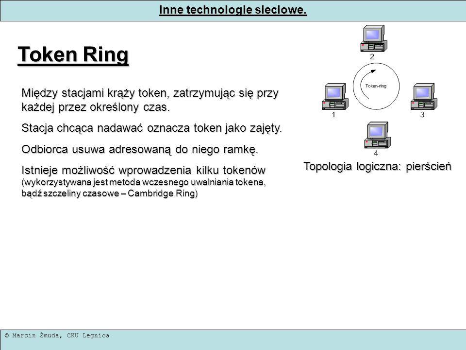 © Marcin Żmuda, CKU Legnica Inne technologie sieciowe. Token Ring Topologia logiczna: pierścień Między stacjami krąży token, zatrzymując się przy każd
