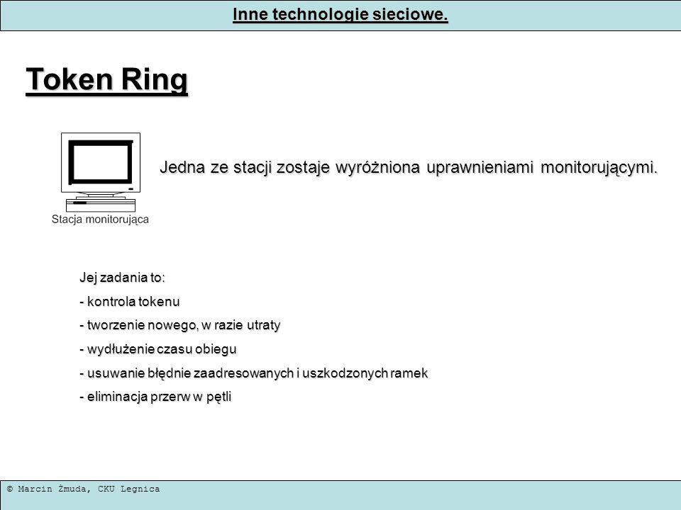 © Marcin Żmuda, CKU Legnica Inne technologie sieciowe. Token Ring Jedna ze stacji zostaje wyróżniona uprawnieniami monitorującymi. Jej zadania to: - k