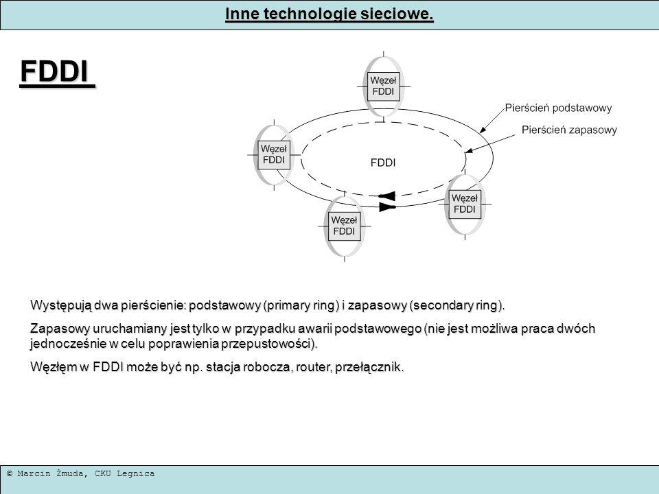 © Marcin Żmuda, CKU Legnica Inne technologie sieciowe. FDDI Występują dwa pierścienie: podstawowy (primary ring) i zapasowy (secondary ring). Zapasowy