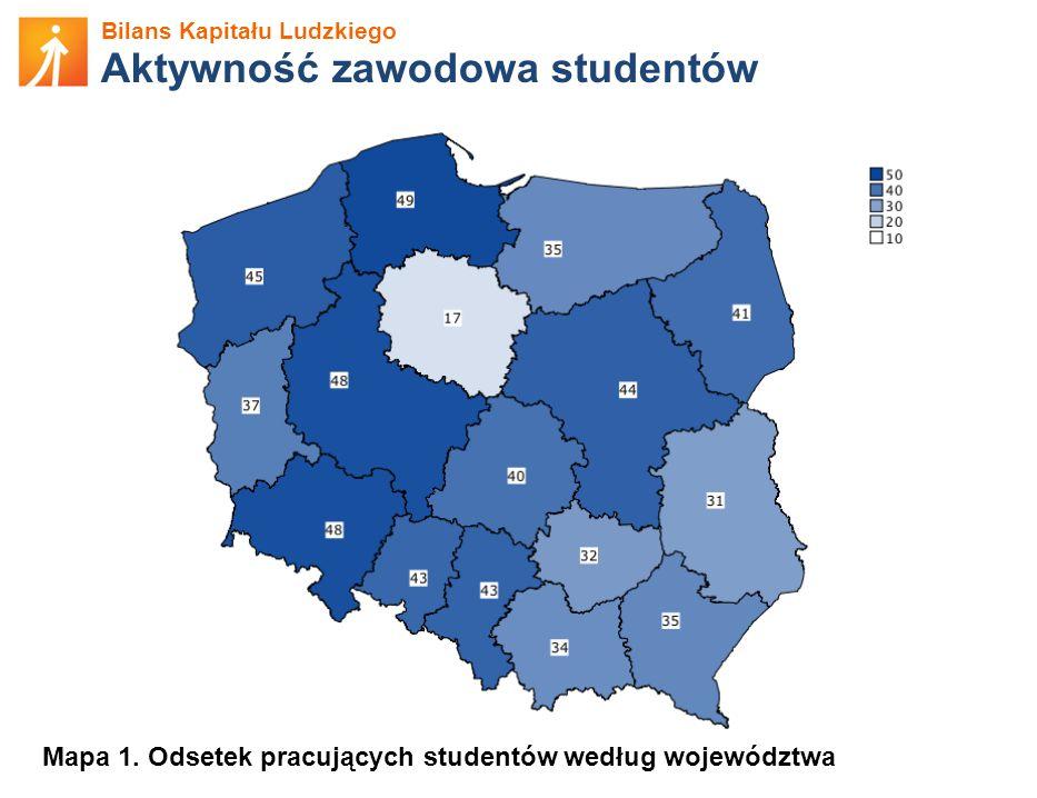 Bilans Kapitału Ludzkiego Aktywność zawodowa studentów Mapa 1.