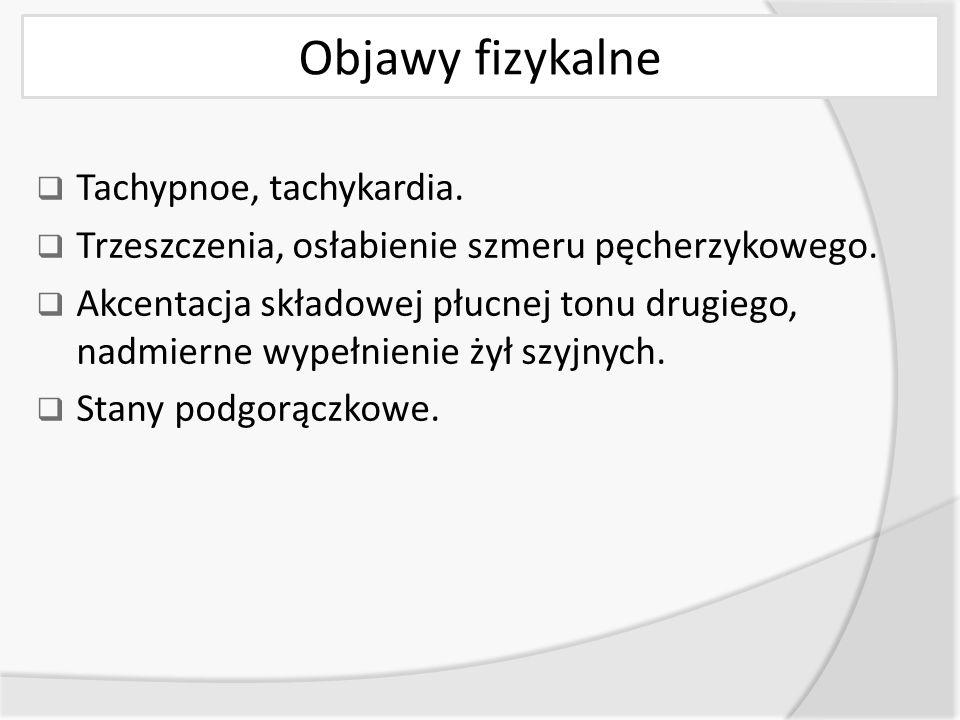 Objawy fizykalne  Tachypnoe, tachykardia. Trzeszczenia, osłabienie szmeru pęcherzykowego.
