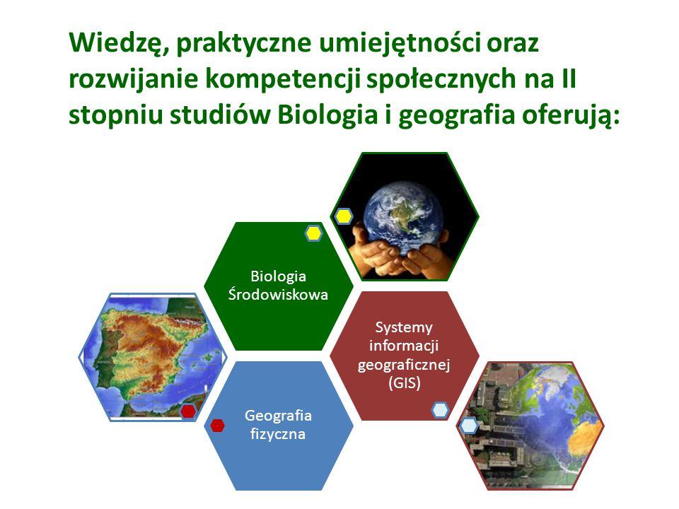 Wiedzę, praktyczne umiejętności oraz rozwijanie kompetencji społecznych na II stopniu studiów Biologia i geografia oferują: Geografia fizyczna Systemy informacji geograficznej (GIS) Biologia Środowiskowa