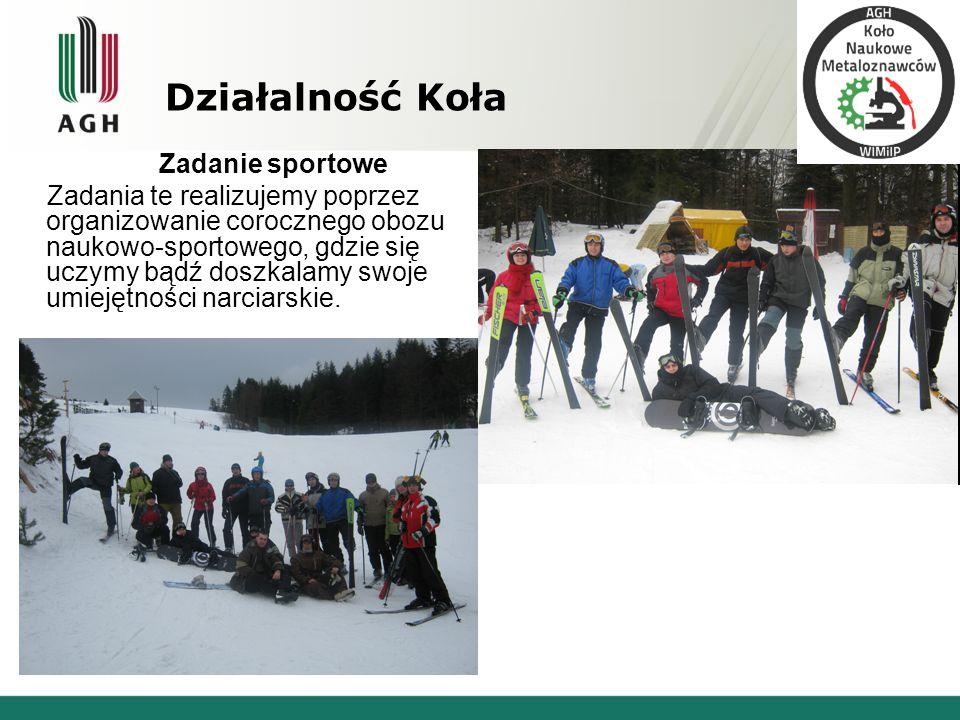 Działalność Koła Zadanie sportowe Zadania te realizujemy poprzez organizowanie corocznego obozu naukowo-sportowego, gdzie się uczymy bądź doszkalamy s