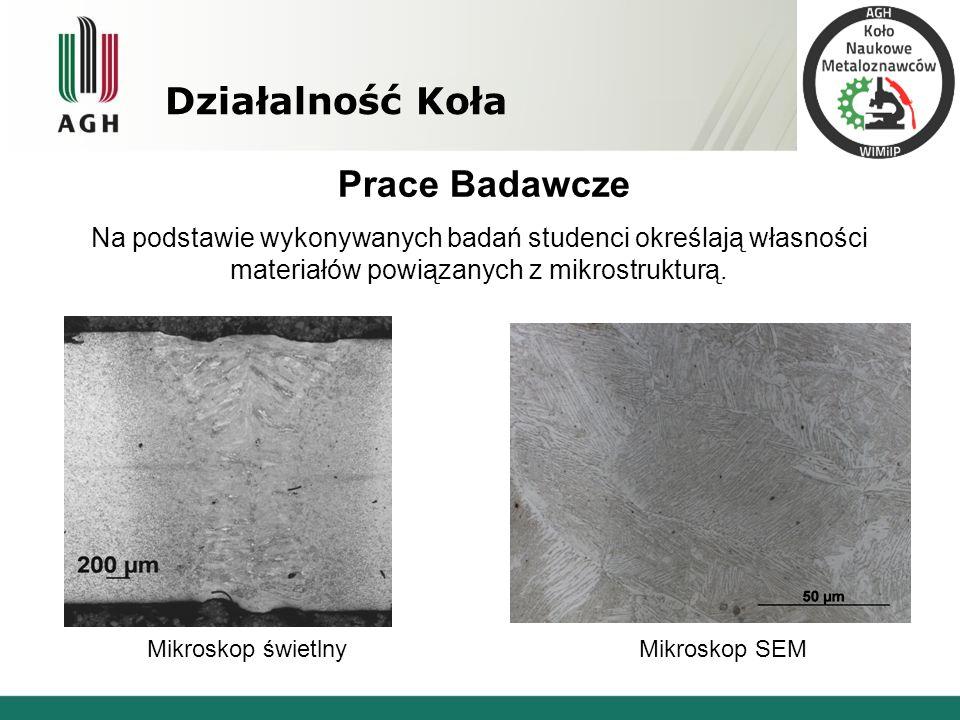 Działalność Koła Prace Badawcze Na podstawie wykonywanych badań studenci określają własności materiałów powiązanych z mikrostrukturą. Mikroskop świetl