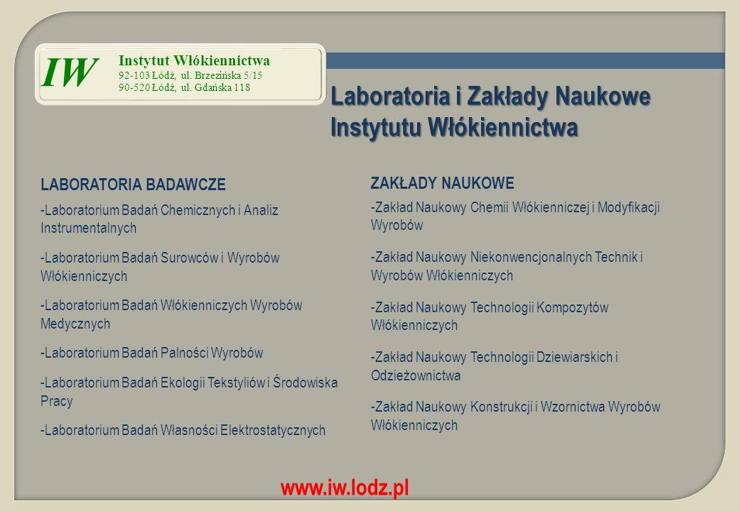 Laboratoria i Zakłady Naukowe Instytutu Włókiennictwa LABORATORIA BADAWCZE ZAKŁADY NAUKOWE -Laboratorium Badań Chemicznych i Analiz Instrumentalnych -