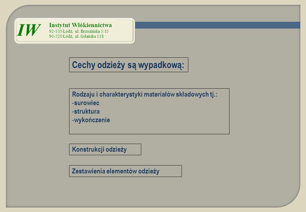 Cechy odzieży są wypadkową: Rodzaju i charakterystyki materiałów składowych tj.: - surowiec - struktura - wykończenie Konstrukcji odzieży Zestawienia