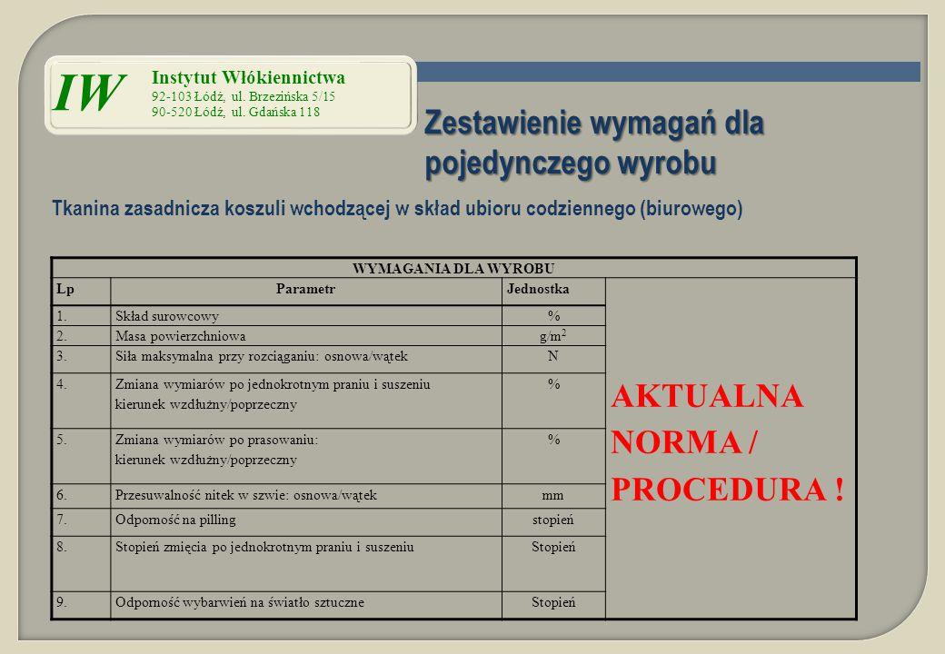 Zestawienie wymagań dla pojedynczego wyrobu WYMAGANIA DLA WYROBU LpParametrJednostka AKTUALNA NORMA / PROCEDURA ! 1.Skład surowcowy% 2.Masa powierzchn