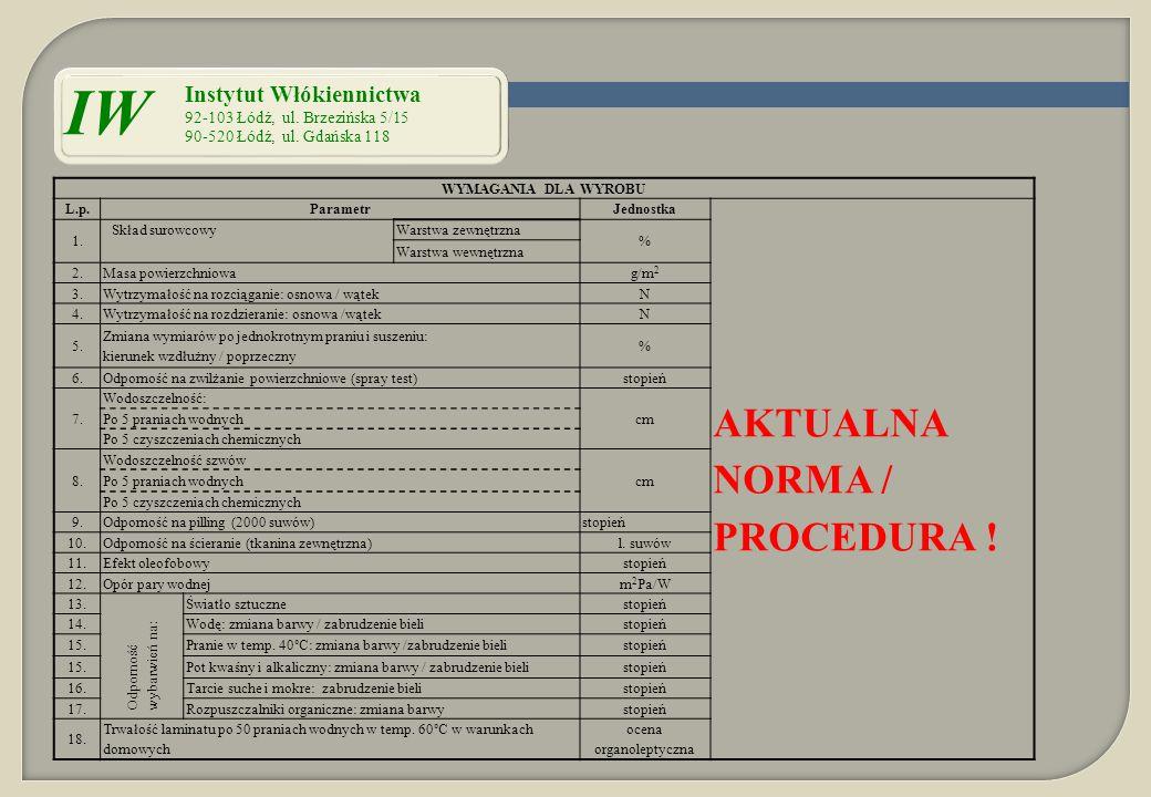 WYMAGANIA DLA WYROBU L.p.ParametrJednostka AKTUALNA NORMA / PROCEDURA ! 1. Skład surowcowy Warstwa zewnętrzna % Warstwa wewnętrzna 2.Masa powierzchnio