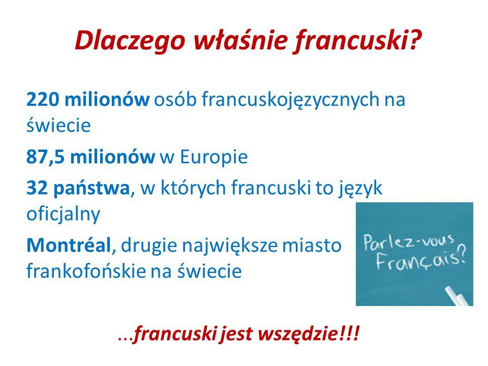 Dlaczego właśnie francuski? 220 milionów osób francuskojęzycznych na świecie 87,5 milionów w Europie 32 państwa, w których francuski to język oficjaln