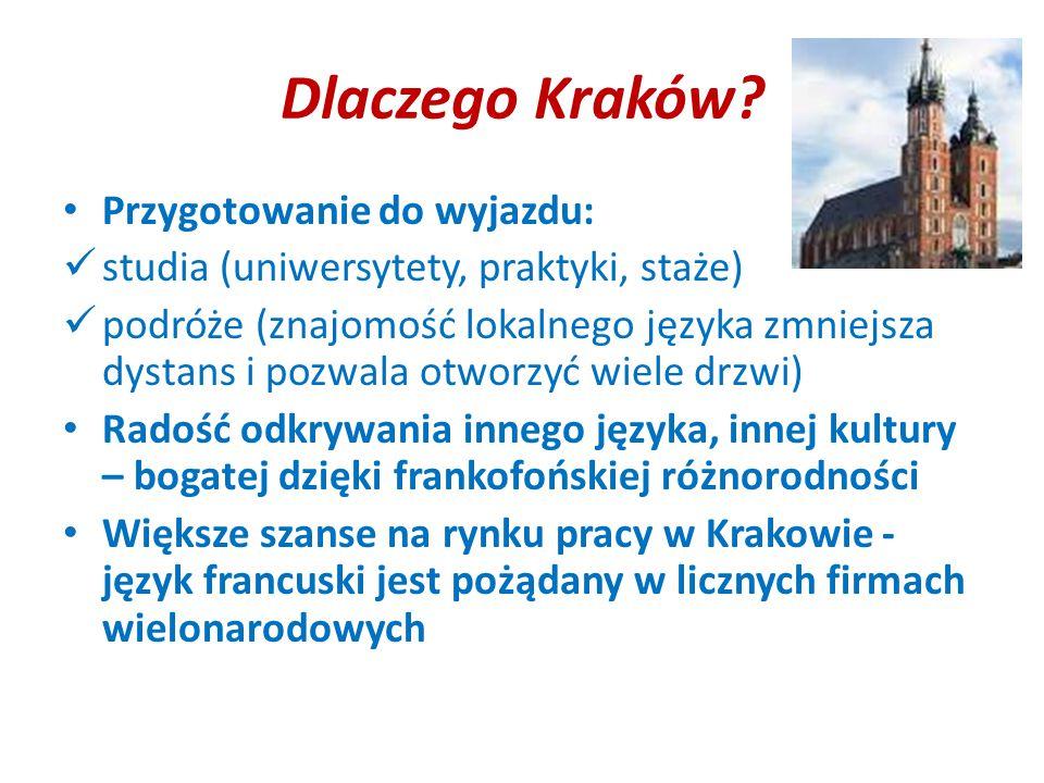 Dlaczego Kraków? Przygotowanie do wyjazdu: studia (uniwersytety, praktyki, staże) podróże (znajomość lokalnego języka zmniejsza dystans i pozwala otwo