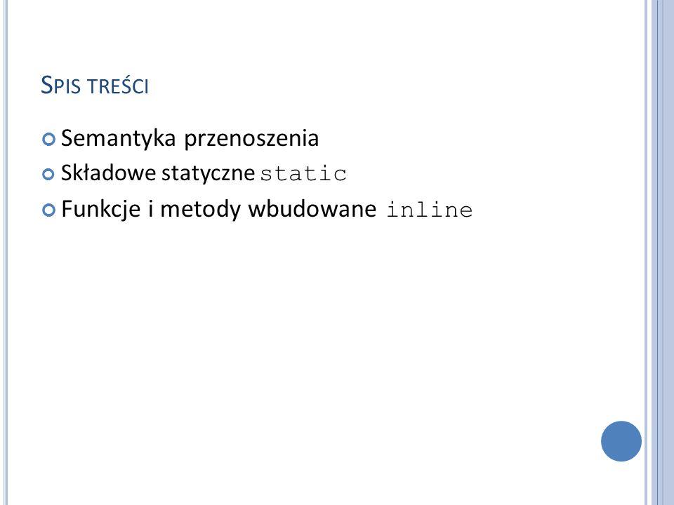 S PIS TREŚCI Semantyka przenoszenia Składowe statyczne static Funkcje i metody wbudowane inline