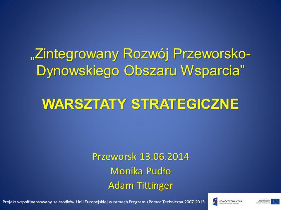 Plan warsztatu 1.Prezentacja wyników diagnozy rozwoju społeczno – gospodarczego PDOW wykonanej przez SWIG DELTA PARTNER 2.Prezentacja wstępnej eksperckiej analizy SWOT w 6 obszarach społecznych i gospodarczych 3.Dyskusja – propozycje uczestników 4.Wytyczenie obszarów strategicznych Projekt współfinansowany ze środków Unii Europejskiej w ramach Programu Pomoc Techniczna 2007-2013