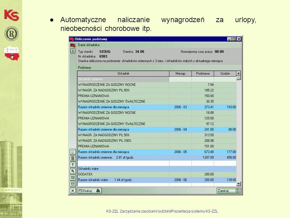 KS-ZZL Zarządzanie zasobami ludzkimiPrezentacja systemu KS-ZZL ●Automatyczne naliczanie wynagrodzeń za urlopy, nieobecności chorobowe itp.