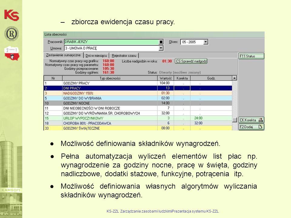 KS-ZZL Zarządzanie zasobami ludzkimiPrezentacja systemu KS-ZZL –zbiorcza ewidencja czasu pracy. ●Możliwość definiowania składników wynagrodzeń. ●Pełna