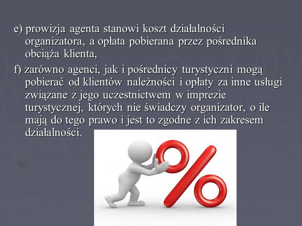 e) prowizja agenta stanowi koszt działalności organizatora, a opłata pobierana przez pośrednika obciąża klienta, f) zarówno agenci, jak i pośrednicy t