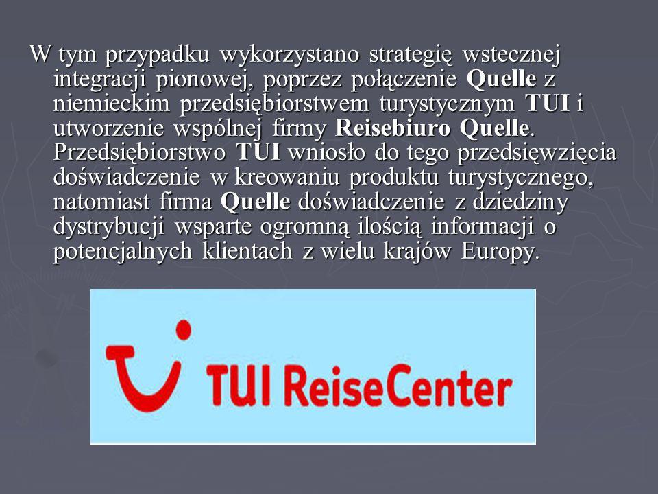 W tym przypadku wykorzystano strategię wstecznej integracji pionowej, poprzez połączenie Quelle z niemieckim przedsiębiorstwem turystycznym TUI i utwo