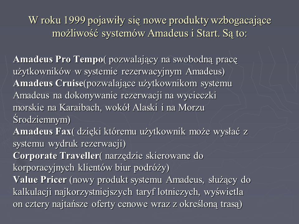 W roku 1999 pojawiły się nowe produkty wzbogacające możliwość systemów Amadeus i Start. Są to: Amadeus Pro Tempo( pozwalający na swobodną pracę użytko