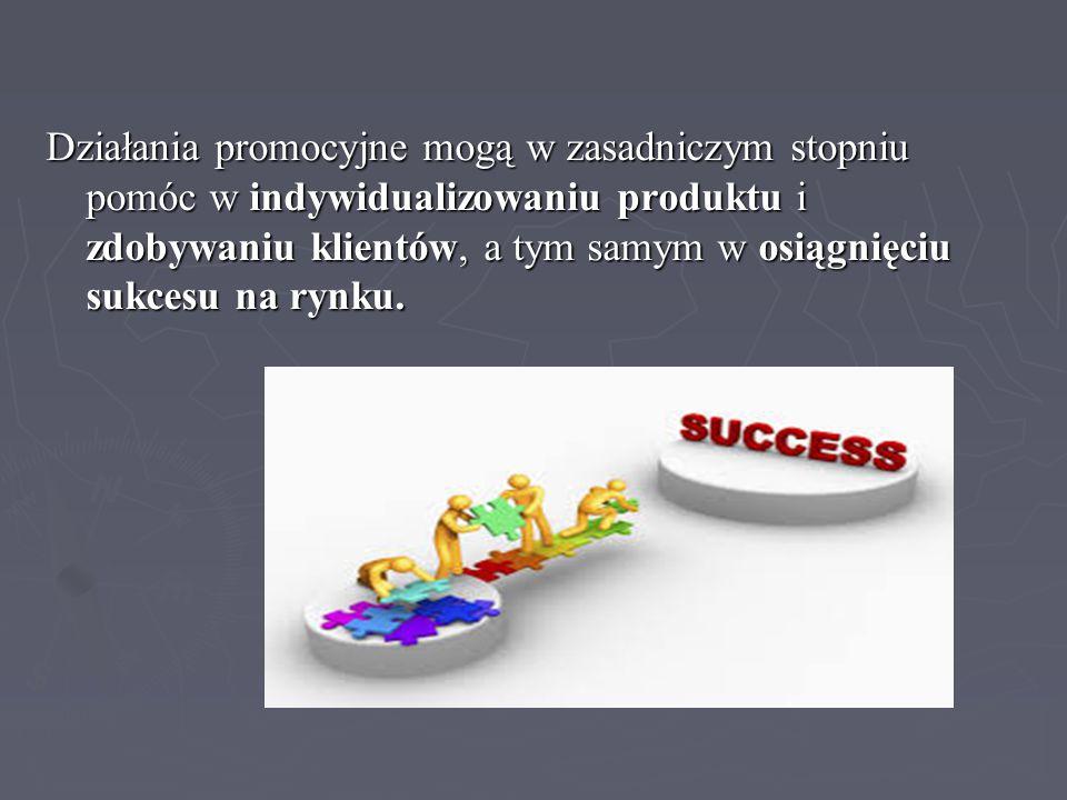 Działania promocyjne mogą w zasadniczym stopniu pomóc w indywidualizowaniu produktu i zdobywaniu klientów, a tym samym w osiągnięciu sukcesu na rynku.
