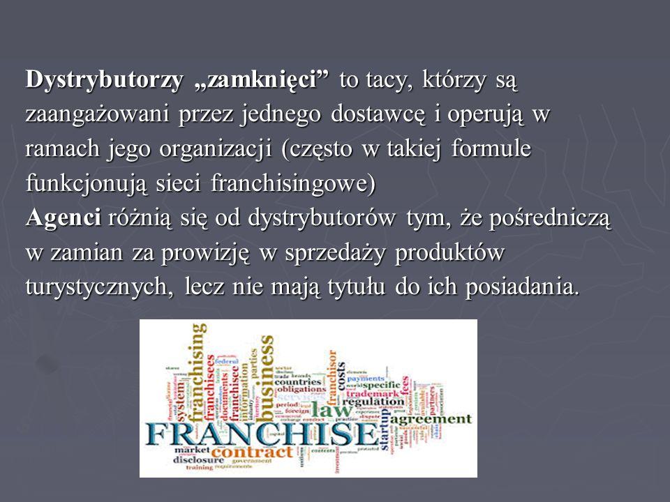 """Dystrybutorzy """"zamknięci"""" to tacy, którzy są zaangażowani przez jednego dostawcę i operują w ramach jego organizacji (często w takiej formule funkcjon"""