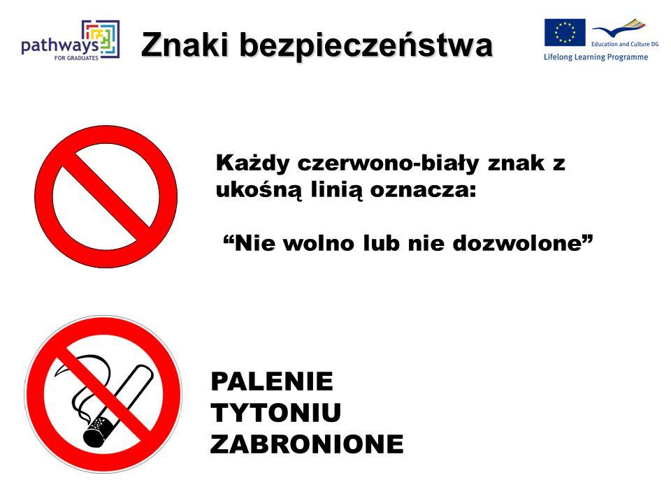 ! Niebieski/Biały = musisz zrobić Czerwony/Biały = NIE WOLNO robić Zielony/Biały = Informacja o bezpieczeństwie Żółty/Czarny = ostrzeżenie przed niebe