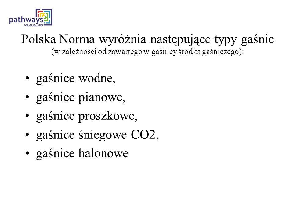 Polska Norma wyróżnia następujące typy gaśnic (w zależności od zawartego w gaśnicy środka gaśniczego): gaśnice wodne, gaśnice pianowe, gaśnice proszkowe, gaśnice śniegowe CO2, gaśnice halonowe
