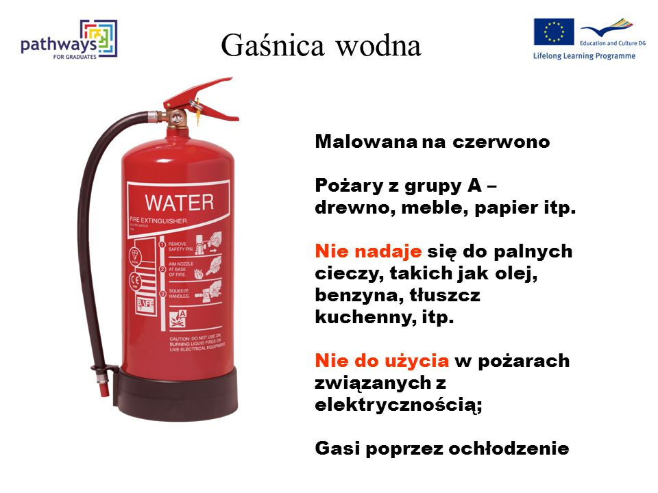 Polska Norma wyróżnia następujące typy gaśnic (w zależności od zawartego w gaśnicy środka gaśniczego): gaśnice wodne, gaśnice pianowe, gaśnice proszko