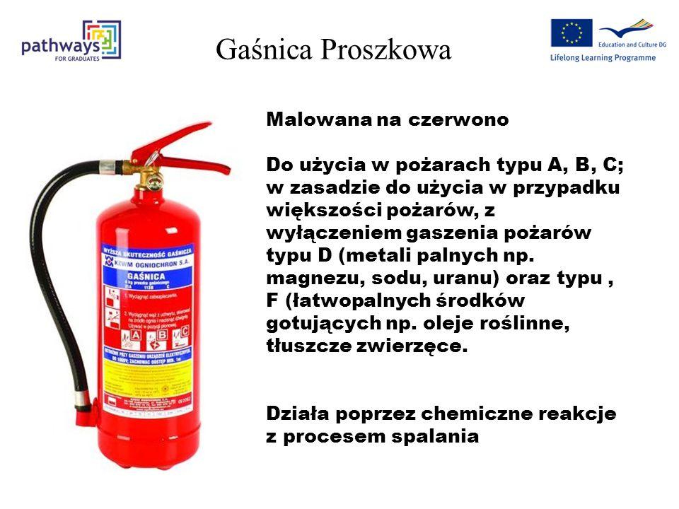 Gaśnica Proszkowa Malowana na czerwono Do użycia w pożarach typu A, B, C; w zasadzie do użycia w przypadku większości pożarów, z wyłączeniem gaszenia pożarów typu D (metali palnych np.