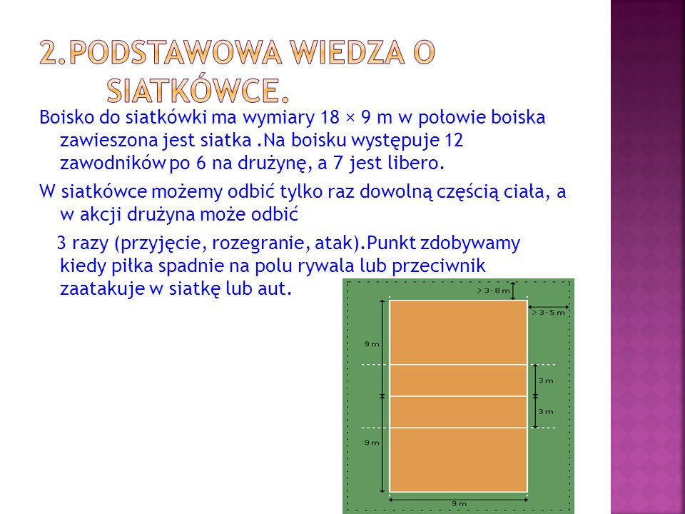 Boisko do siatkówki ma wymiary 18 × 9 m w połowie boiska zawieszona jest siatka.Na boisku występuje 12 zawodników po 6 na drużynę, a 7 jest libero. W