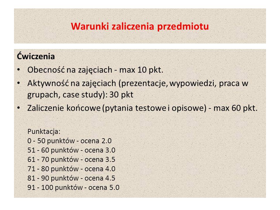 Warunki zaliczenia przedmiotu Ćwiczenia Obecność na zajęciach - max 10 pkt.