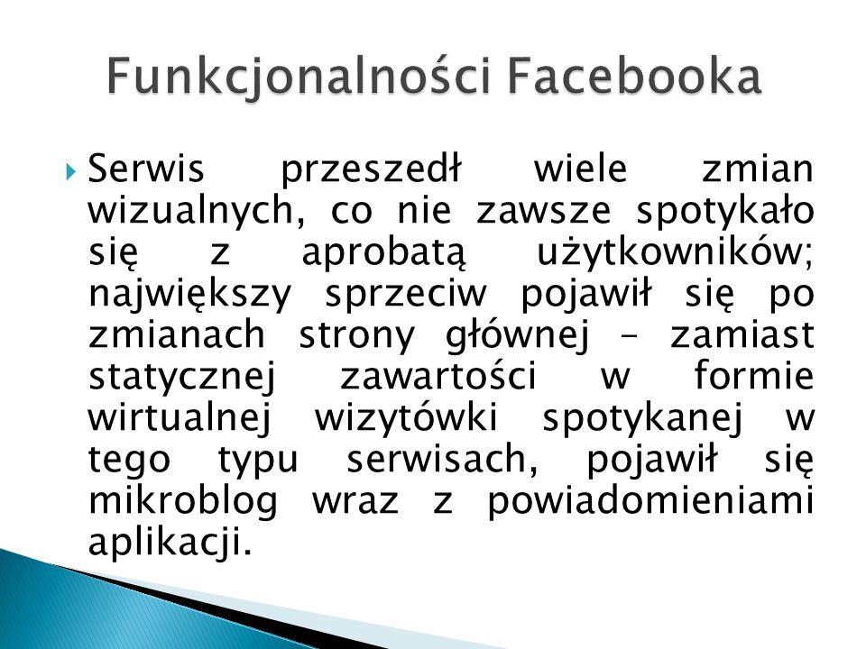  Facebook oferuje wewnętrzną platformę aplikacji internetowych, dzięki której każdy z użytkowników może napisać własny program i udostępniać go innym użytkownikom.