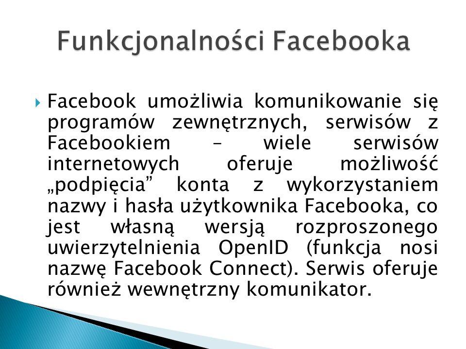  Facebook posiada także wiele typowych funkcji obecnych w innych serwisach społecznościowych, takich jak: albumy ze zdjęciami, blog, notes, książka adresowa, lista znajomych, grupy użytkowników, blokowanie użytkowników, poczta wewnętrzna.
