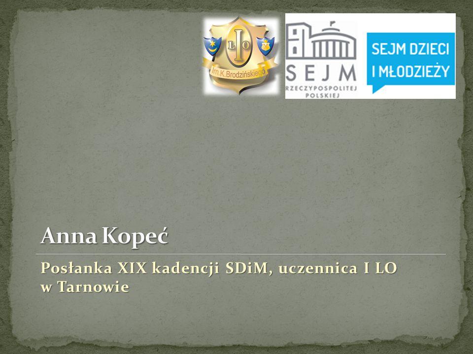 Posłanka XIX kadencji SDiM, uczennica I LO w Tarnowie