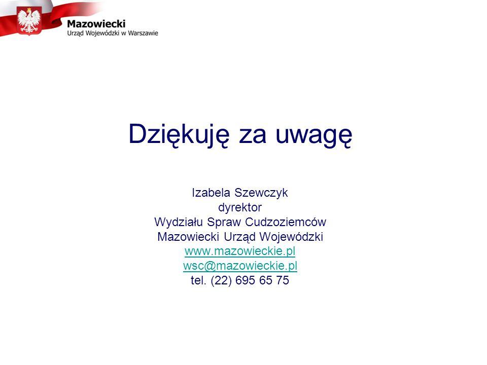 Dziękuję za uwagę Izabela Szewczyk dyrektor Wydziału Spraw Cudzoziemców Mazowiecki Urząd Wojewódzki www.mazowieckie.pl wsc@mazowieckie.pl tel.