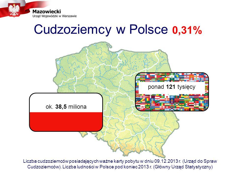Cudzoziemcy w Polsce 0,31% ok.