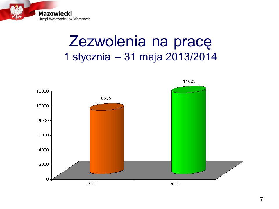 7 Zezwolenia na pracę 1 stycznia – 31 maja 2013/2014
