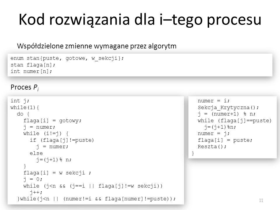 Kod rozwiązania dla i–tego procesu 11 enum stan{puste, gotowe, w_sekcji}; stan flaga[n]; int numer[n]; enum stan{puste, gotowe, w_sekcji}; stan flaga[