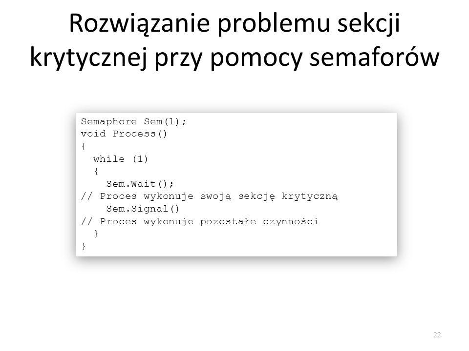 Rozwiązanie problemu sekcji krytycznej przy pomocy semaforów 22 Semaphore Sem(1); void Process() { while (1) { Sem.Wait(); // Proces wykonuje swoją se