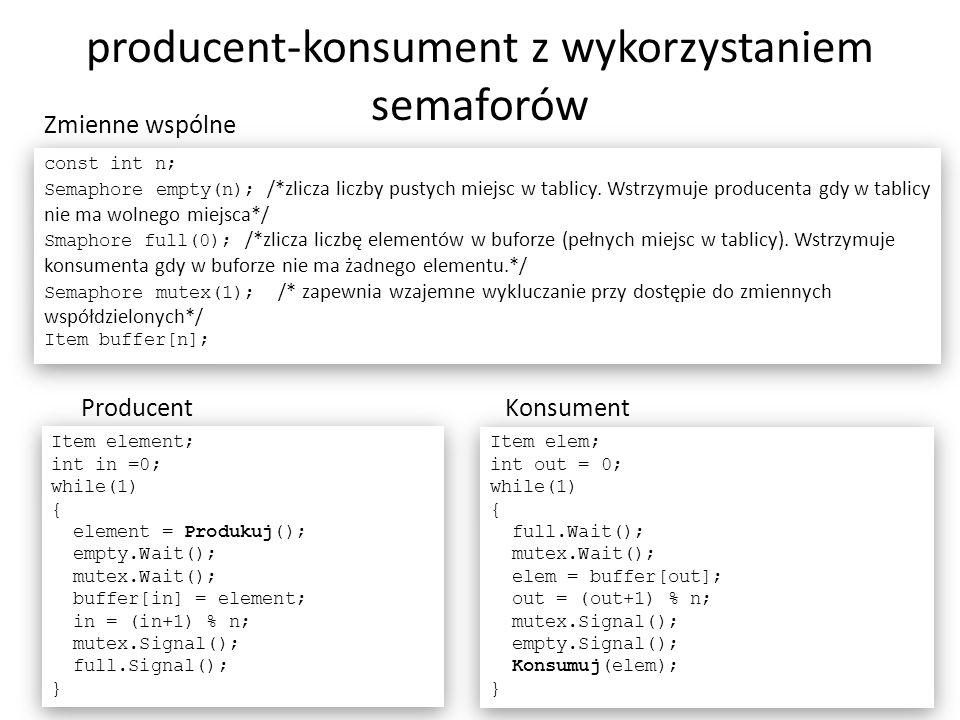 producent-konsument z wykorzystaniem semaforów 28 Item element; int in =0; while(1) { element = Produkuj(); empty.Wait(); mutex.Wait(); buffer[in] = e