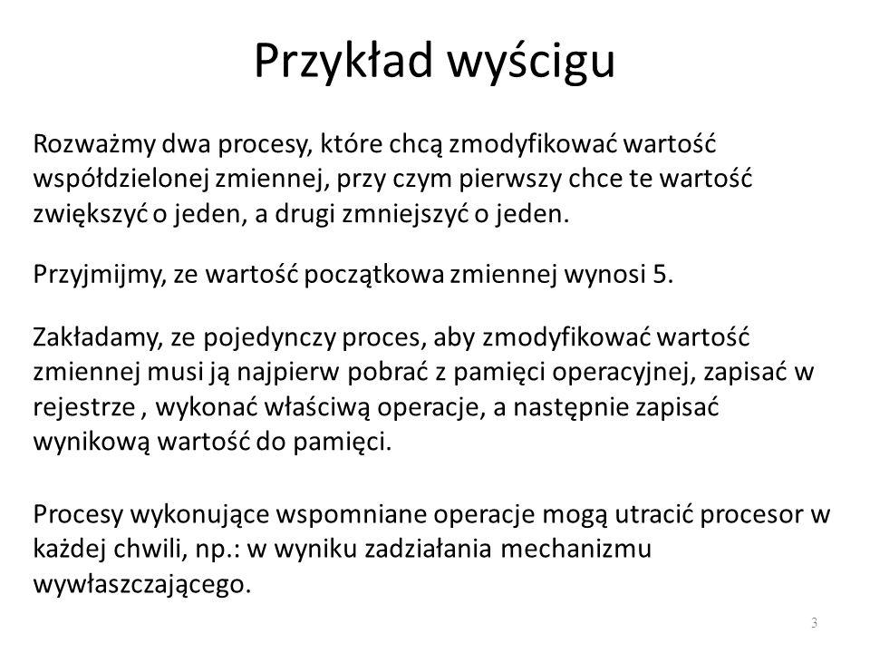 Zagłodzenie procesów (starvation) 34 Proces czeka w nieskończoność, pomimo że zdarzenie na które czeka występuje.