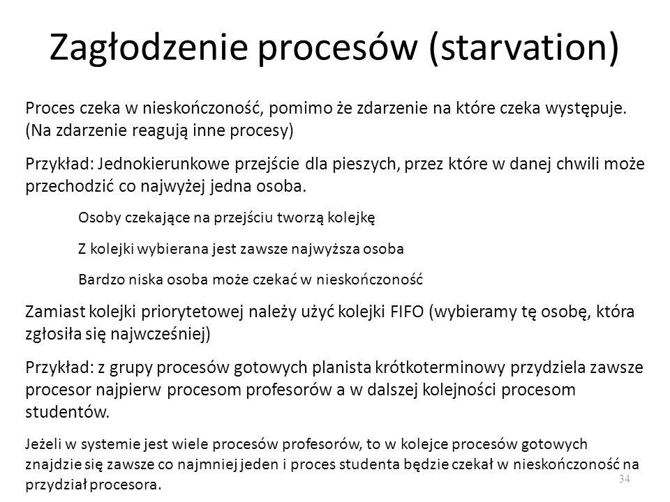 Zagłodzenie procesów (starvation) 34 Proces czeka w nieskończoność, pomimo że zdarzenie na które czeka występuje. (Na zdarzenie reagują inne procesy)