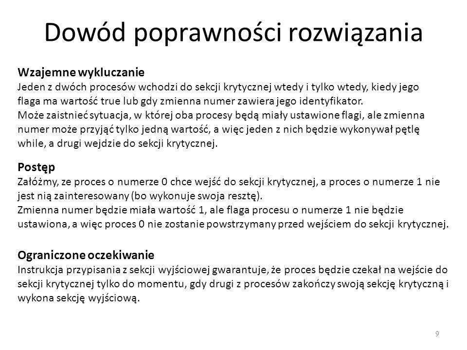 Dowód poprawności rozwiązania 9 Wzajemne wykluczanie Jeden z dwóch procesów wchodzi do sekcji krytycznej wtedy i tylko wtedy, kiedy jego flaga ma wart