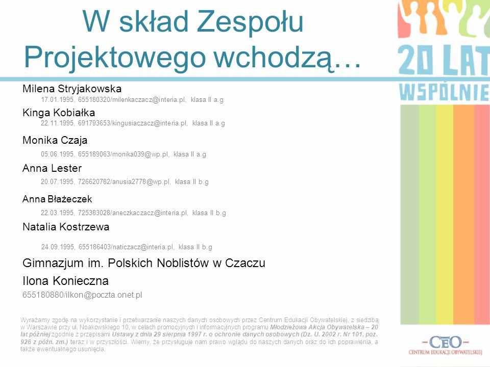 W skład Zespołu Projektowego wchodzą… Milena Stryjakowska 17.01.1995, 655180320/milenkaczacz@interia.pl, klasa II a.g Kinga Kobiałka 22.11.1995, 691793653/kingusiaczacz@interia.pl, klasa II a.g Monika Czaja 05.06.1995, 655189063/monika039@wp.pl, klasa II a.g Anna Lester 20.07.1995, 726620782/anusia2778@wp.pl, klasa II b.g Anna Błażeczek 22.03.1995, 725383028/aneczkaczacz@interia.pl, klasa II b.g Natalia Kostrzewa 24.09.1995, 655186403/naticzacz@interia.pl, klasa II b.g Gimnazjum im.