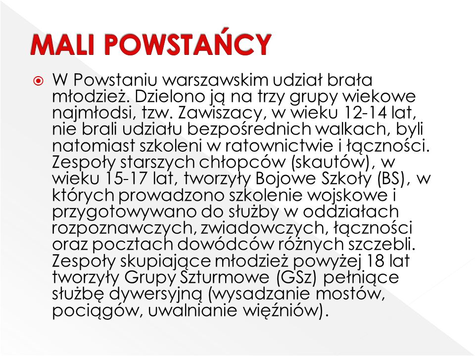  W Powstaniu warszawskim udział brała młodzież. Dzielono ją na trzy grupy wiekowe najmłodsi, tzw. Zawiszacy, w wieku 12-14 lat, nie brali udziału bez