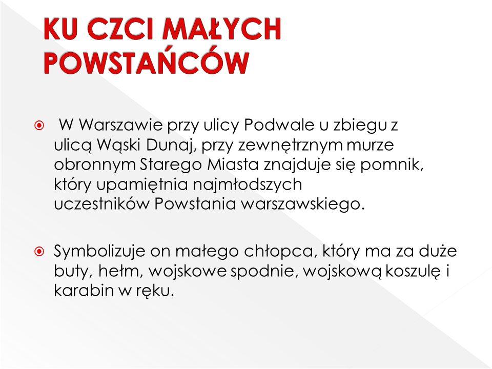  W Warszawie przy ulicy Podwale u zbiegu z ulicą Wąski Dunaj, przy zewnętrznym murze obronnym Starego Miasta znajduje się pomnik, który upamiętnia na