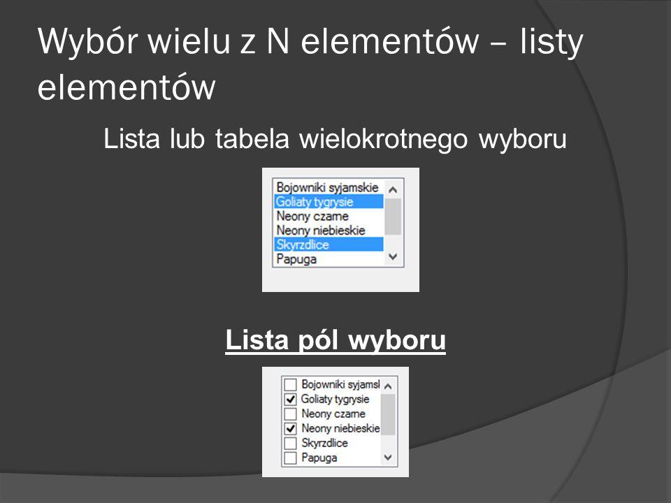Wybór wielu z N elementów – listy elementów Lista lub tabela wielokrotnego wyboru Lista pól wyboru